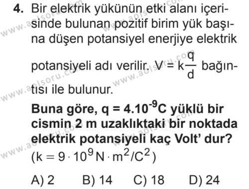 Seçmeli Fizik 2 Dersi 2018 - 2019 Yılı 2. Dönem Sınav Soruları 4. Soru