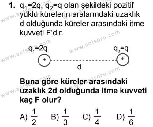 Seçmeli Fizik 2 Dersi 2018 - 2019 Yılı Ek Sınavı 1. Soru