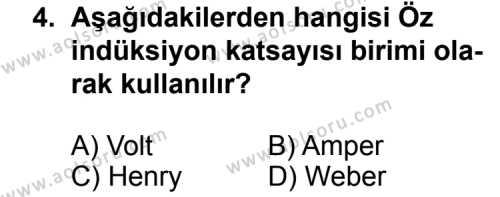 Seçmeli Fizik 3 Dersi 2012 - 2013 Yılı 3. Dönem Sınav Soruları 4. Soru