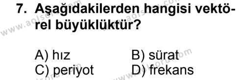 Seçmeli Fizik 3 Dersi 2013-2014 Yılı 1. Dönem Sınavı 7. Soru