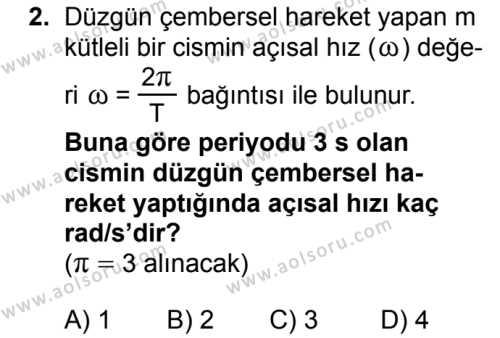 Seçmeli Fizik 3 Dersi 2018 - 2019 Yılı Ek Sınavı 2. Soru