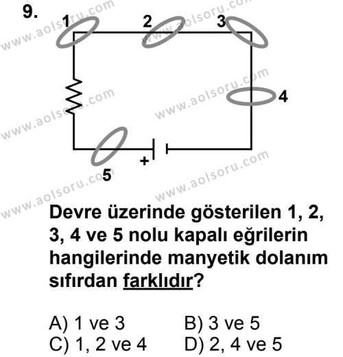 Seçmeli Fizik 4 Dersi 2011-2012 Yılı 1. Dönem Sınavı 9. Soru