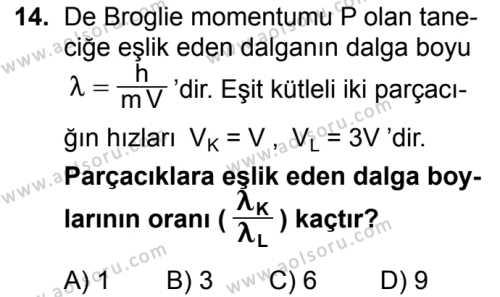 Seçmeli Fizik 4 Dersi 2016-2017 Yılı 1. Dönem Sınavı 14. Soru