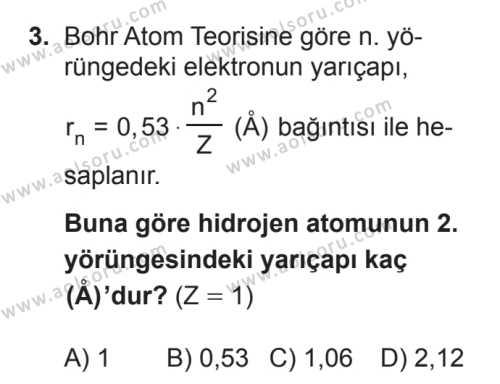 Seçmeli Fizik 4 Dersi 2017 - 2018 Yılı 3. Dönem Sınavı 3. Soru