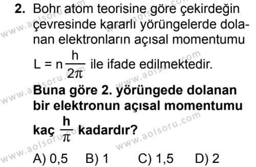 Seçmeli Fizik 4 Dersi 2018 - 2019 Yılı 1. Dönem Sınavı 2. Soru