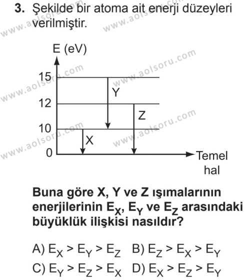 Seçmeli Fizik 4 Dersi 2018 - 2019 Yılı 2. Dönem Sınavı 3. Soru