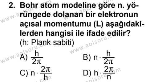 Seçmeli Fizik 4 Dersi 2018 - 2019 Yılı 3. Dönem Sınav Soruları 2. Soru