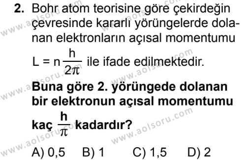 Seçmeli Fizik 4 Dersi 2018 - 2019 Yılı Ek Sınavı 2. Soru