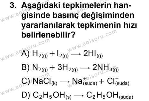 Seçmeli Kimya 1 Dersi 2011 - 2012 Yılı Ek Sınav Soruları 3. Soru