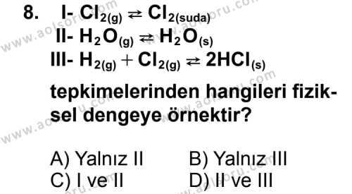 Seçmeli Kimya 1 Dersi 2013-2014 Yılı 1. Dönem Sınavı 8. Soru
