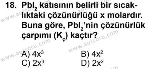 Seçmeli Kimya 1 Dersi 2013-2014 Yılı 1. Dönem Sınavı 18. Soru