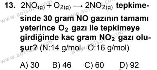 Seçmeli Kimya 1 Dersi 2016-2017 Yılı 1. Dönem Sınavı 13. Soru