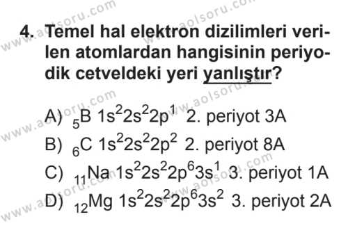 Seçmeli Kimya 1 Dersi 2017 - 2018 Yılı 3. Dönem Sınavı 4. Soru