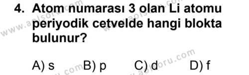 Seçmeli Kimya 1 Dersi 2018 - 2019 Yılı 1. Dönem Sınavı 4. Soru