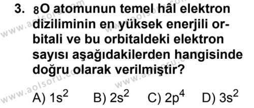 Seçmeli Kimya 1 Dersi 2018 - 2019 Yılı Ek Sınavı 3. Soru