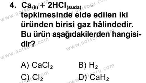 Seçmeli Kimya 2 Dersi 2011 - 2012 Yılı Ek Sınav Soruları 4. Soru
