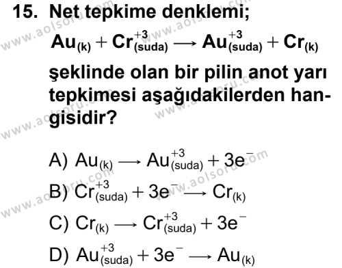 Seçmeli Kimya 2 Dersi 2012-2013 Yılı 1. Dönem Sınavı 15. Soru