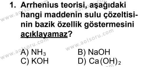 Seçmeli Kimya 2 Dersi 2012 - 2013 Yılı 2. Dönem Sınav Soruları 1. Soru
