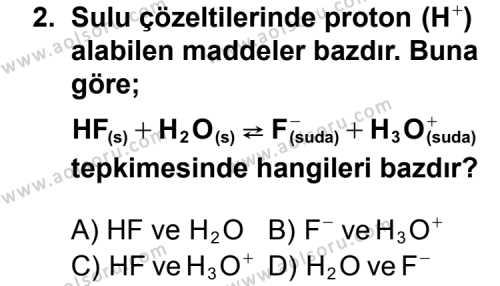 Seçmeli Kimya 2 Dersi 2012 - 2013 Yılı 2. Dönem Sınav Soruları 2. Soru