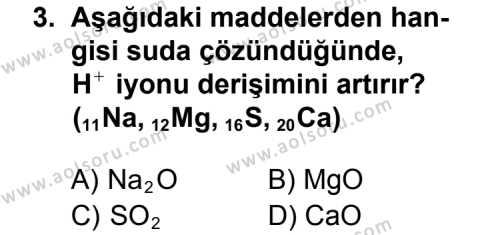 Seçmeli Kimya 2 Dersi 2012 - 2013 Yılı 2. Dönem Sınav Soruları 3. Soru