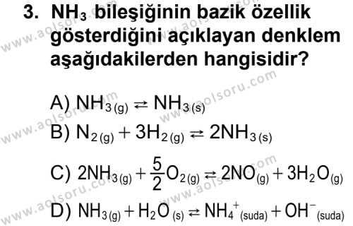 Seçmeli Kimya 2 Dersi 2014 - 2015 Yılı 2. Dönem Sınav Soruları 3. Soru