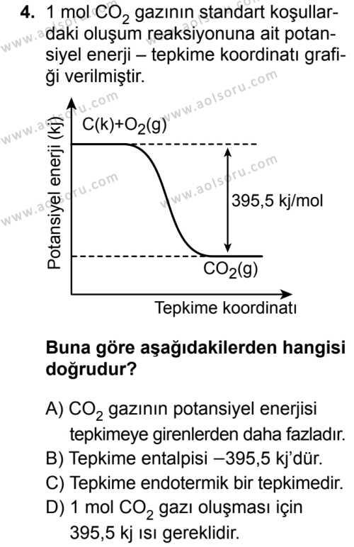Seçmeli Kimya 2 Dersi 2019 - 2020 Yılı 1. Dönem Sınav Soruları 4. Soru