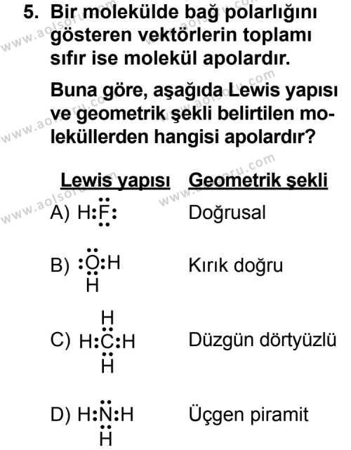 Seçmeli Kimya 3 Dersi 2011-2012 Yılı 1. Dönem Sınavı 5. Soru