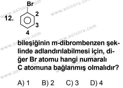 Seçmeli Kimya 3 Dersi 2013-2014 Yılı 1. Dönem Sınavı 12. Soru