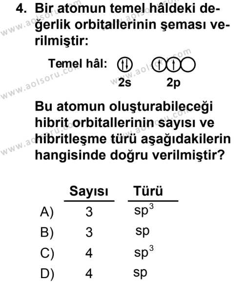 Seçmeli Kimya 3 Dersi 2013 - 2014 Yılı 2. Dönem Sınavı 4. Soru