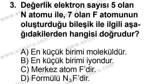 Seçmeli Kimya 3 Dersi 2013 - 2014 Yılı 3. Dönem Sınav Soruları 3. Soru