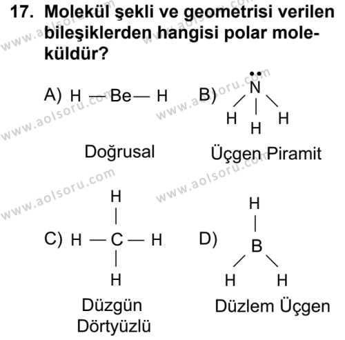 Seçmeli Kimya 3 Dersi 2018-2019 Yılı 1. Dönem Sınavı 17. Soru