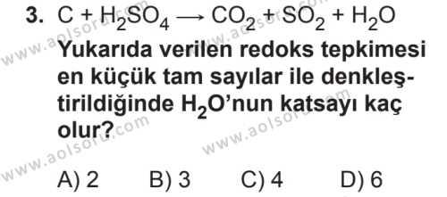 Seçmeli Kimya 3 Dersi 2018 - 2019 Yılı 2. Dönem Sınavı 3. Soru