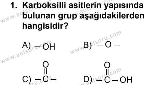 Seçmeli Kimya 4 Dersi 2011 - 2012 Yılı Ek Sınav Soruları 1. Soru