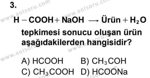 Seçmeli Kimya 4 Dersi 2013 - 2014 Yılı 3. Dönem Sınav Soruları 3. Soru