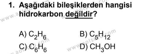 Seçmeli Kimya 4 Dersi 2017 - 2018 Yılı 2. Dönem Sınavı 1. Soru