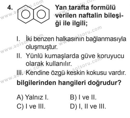 Seçmeli Kimya 4 Dersi 2017 - 2018 Yılı 3. Dönem Sınavı 4. Soru