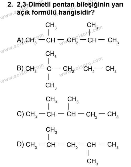 Seçmeli Kimya 4 Dersi 2018 - 2019 Yılı 1. Dönem Sınavı 2. Soru
