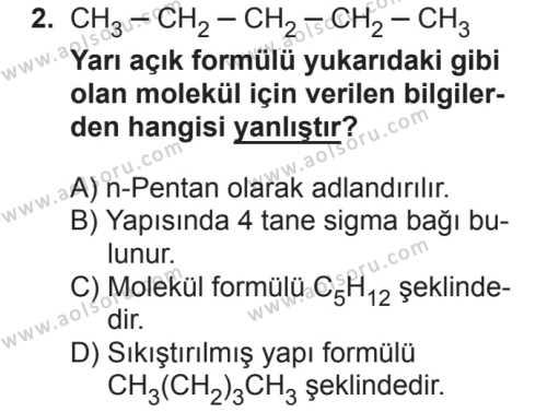 Seçmeli Kimya 4 Dersi 2018 - 2019 Yılı 2. Dönem Sınavı 2. Soru