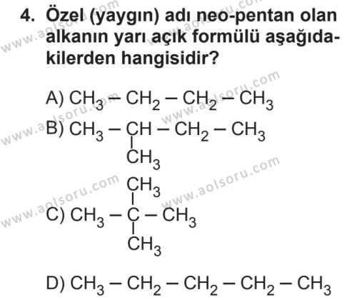 Seçmeli Kimya 4 Dersi 2018 - 2019 Yılı 2. Dönem Sınavı 4. Soru