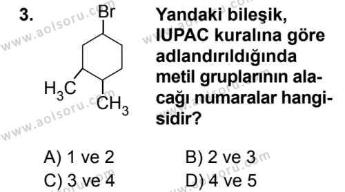 Seçmeli Kimya 4 Dersi 2019 - 2020 Yılı 2. Dönem Sınav Soruları 3. Soru