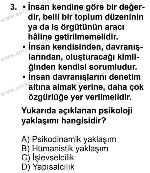 Seçmeli Psikoloji 1 Dersi 2013-2014 Yılı 1. Dönem Sınavı 3. Soru