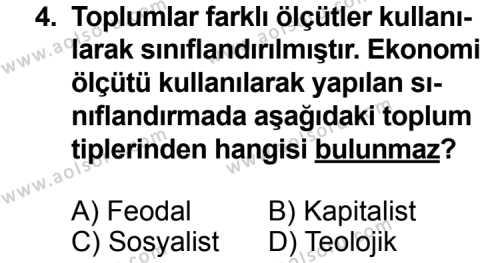 Seçmeli Sosyoloji 1 Dersi 2014 - 2015 Yılı Ek Sınav Soruları 4. Soru
