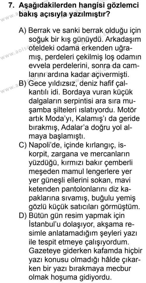 Seçmeli Türk Dili ve Edebiyatı 1 Dersi 2018-2019 Yılı 1. Dönem Sınavı 7. Soru