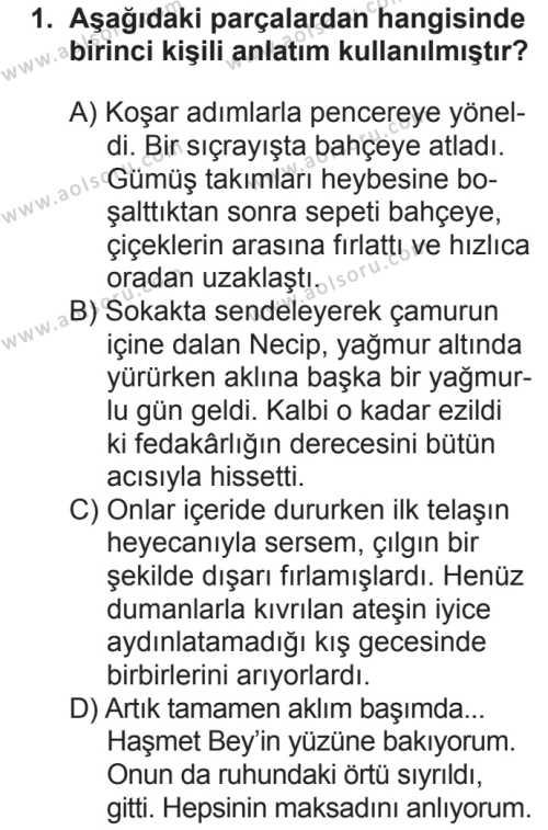 Seçmeli Türk Dili ve Edebiyatı 1 Dersi 2018 - 2019 Yılı 2. Dönem Sınavı 1. Soru