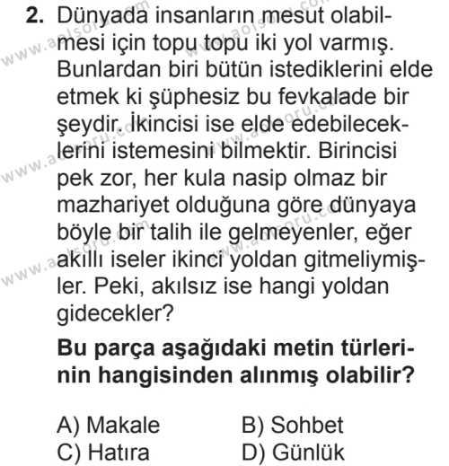 Seçmeli Türk Dili ve Edebiyatı 1 Dersi 2018 - 2019 Yılı 2. Dönem Sınavı 2. Soru