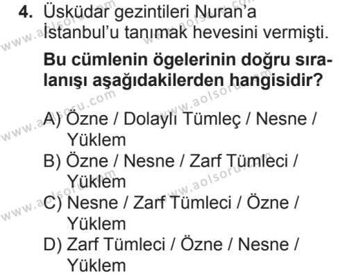 Seçmeli Türk Dili ve Edebiyatı 1 Dersi 2018 - 2019 Yılı 2. Dönem Sınavı 4. Soru