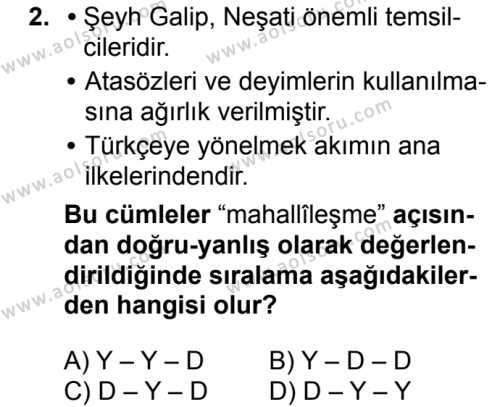 Seçmeli Türk Dili ve Edebiyatı 1 Dersi 2018 - 2019 Yılı 3. Dönem Sınavı 2. Soru