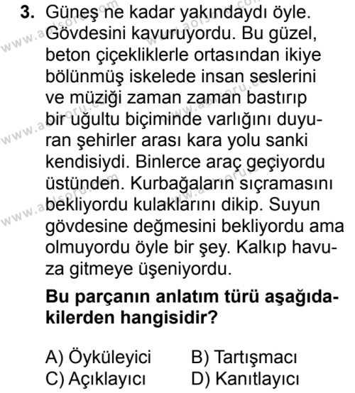 Seçmeli Türk Dili ve Edebiyatı 1 Dersi 2018 - 2019 Yılı 3. Dönem Sınavı 3. Soru