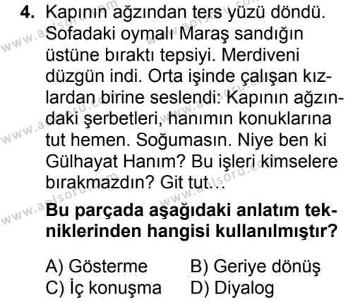 Seçmeli Türk Dili ve Edebiyatı 1 Dersi 2018 - 2019 Yılı 3. Dönem Sınavı 4. Soru