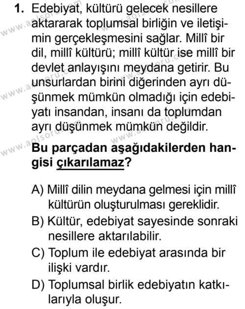 Seçmeli Türk Dili ve Edebiyatı 1 Dersi 2019 - 2020 Yılı 1. Dönem Sınav Soruları 1. Soru